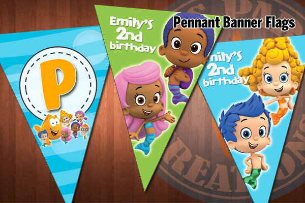 BUBBLE GUPPIES Pennant Banner Flags for Bubble Guppies Birthday ...