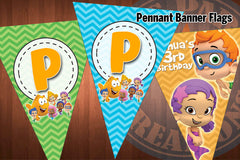BUBBLE GUPPIES Chevron Pennant Banner Flags for Bubble Guppies Birthday Party - DIY Printable Digital Files