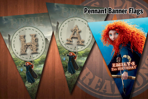 BRAVE Birthday banners - Pennant banner flags for Brave birthday party (+ Child's name)