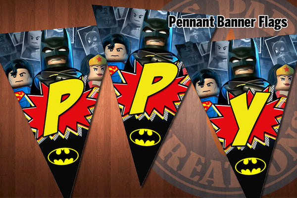 BATMAN Pennant Banner Flags for Batman Birthday Party - Latest Design