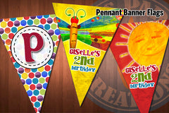 HUNGRY CATERPILLAR Pennant Banner Flags for Hungry Caterpillar Birthday Party