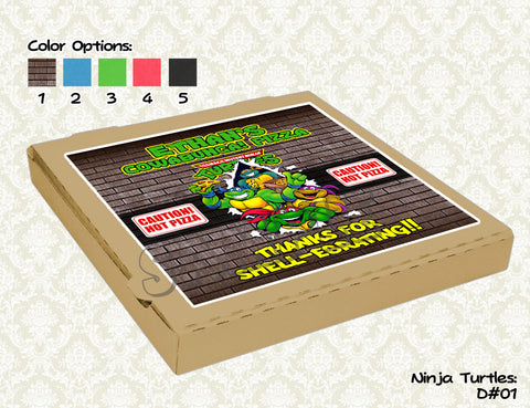 TMNT Pizza Box Label - Teenage Mutant Ninja Turtles Pizza Box Label- Ninja Turtles Birthday Party - TMNT printable pizza box topper (8x8)