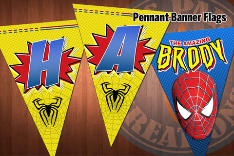 SPIDERMAN Pennant Banner Flags for Spiderman Birthday Party - Bestselling Design