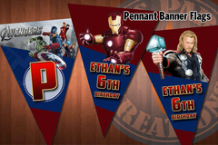 AVENGERS Pennant Banner Flags for Avengers Birthday Party