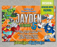 BOYS Rescue bots Birthday Photo Invitations- Rescue bots Birthday Party - Rescue bots photo invite (6x4 or 7x5)