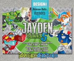 Chevron Rescue bots Birthday Invitation - Rescue bots inspired digital invite (6x4 or 7x5)