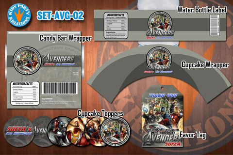 AVENGERS Birthday Party Printable Decor Pack - STARTER SET Promotion 02