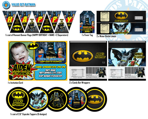 BATMAN Invitation, Batman Birthday, Batman Party Printable, Batman Decor Pack Superhero Birthday - VALUE SET