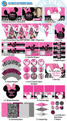 MINNIE MOUSE Birthday Decor Pack - Invitations,Wrappers,Labels,Banners and more (15 in 1 ULTIMATE set) Save 50% off normal price