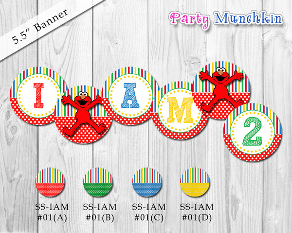 Elmo Banner -  DIY Elmo SESAME STREET banner for Elmo birthday party, Circle Elmo banner, Circular banner, Elmo I Am 1