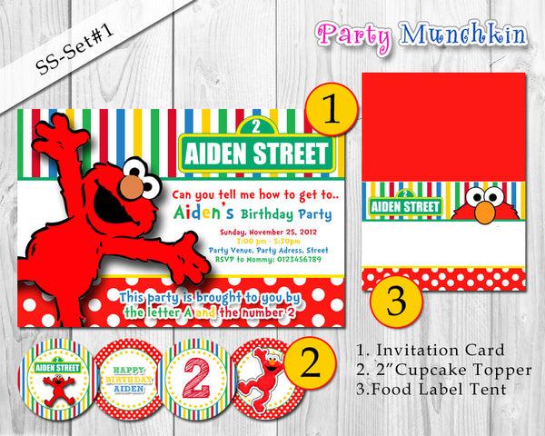 Elmo DecorPack -  Digital ELMO SESAME STREET invitation, toppers, food tent, banner, treat bag topper for Elmo birthday party (All-in-One)