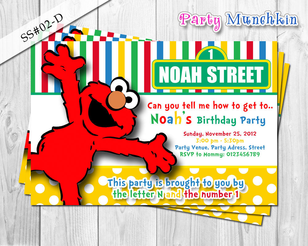 ELMO Invitation SESAME STREET Polkadots And Stripes For Elmo Sesame Street Birthday Party