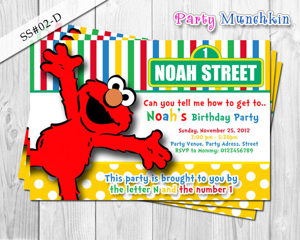 ELMO invitation, SESAME STREET invitation, Polkadots and Stripes Invitation for Elmo Sesame Street birthday party