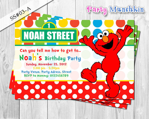 ELMO invitation, SESAME STREET invitation, Red Elmo invite for Sesame Street birthday party
