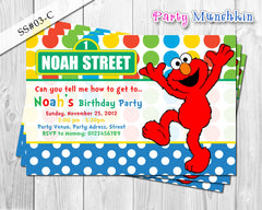 ELMO invitation, SESAME STREET invitation, Red, Green, Blue, Yellow or Pink Elmo invite for Sesame Street birthday party