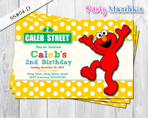 ELMO invitation, SESAME STREET invitation, Red, Green, Blue, Yellow Sesame Street invite for Sesame Street birthday party