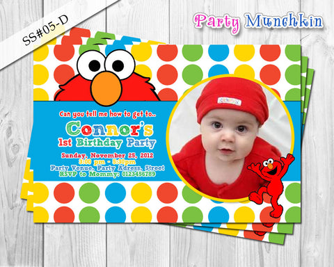 ELMO invitation, SESAME STREET invitation, Photo Invitation for Elmo Sesame Street birthday party - Digital printable