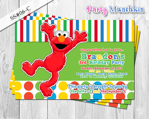 Elmo Sesame Street Invite in Digital Printable File for Elmo Birthday