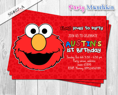 Elmo Digital Invitation for Elmo Sesame Street Birthday