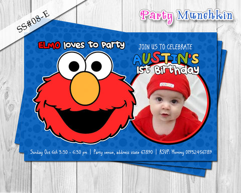 Elmo Photo Invitation, Elmo Sesame Street Birthday - DIY Digital