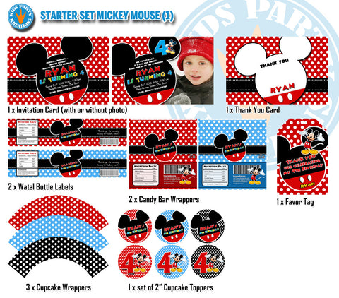 MICKEY MOUSE Birthday -  Mickey Mouse Invitation, Candy Wrappers, Bottle Labels and Favor Tags - STARTER Set (Best Value Edition)
