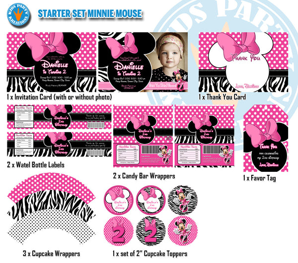 All-time Favorite MINNIE MOUSE Birthday - Invitation, Candy Wrappers, Bottle Labels, Topper and Favor Tags - STARTER Set