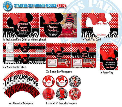 Great Value - MINNIE MOUSE Birthday - Package Invitation, Candy Wrappers, Bottle Labels and Favor Tags - STARTER Set (Red)