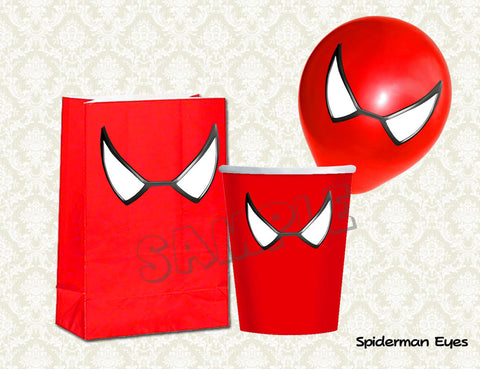 Spiderman Eyes - Spiderman Balloon Stickers - Spiderman Favor bags - Spiderman Cups - Spiderman birthday party (SET of 3 sizes)