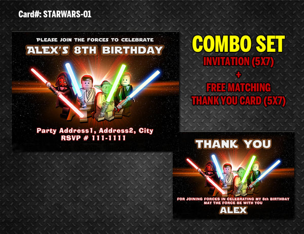 Star Wars DIY printable Invitation and Thank You for Star Wars birthday
