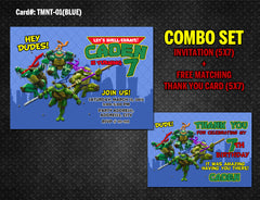Ninja Turtles DIGITAL Invitation for Teenage Mutant Birthday - (TMNT-01-White)