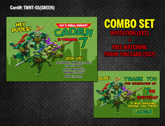 Ninja Turtles DIGITAL Invitation for Teenage Mutant Birthday - (TMNT-01-Blue)