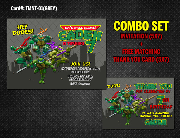 Ninja Turtles DIGITAL Invitation for Teenage Mutant Birthday - (TMNT-01-Grey)