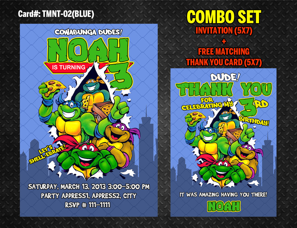 Ninja Turtles Invitation for TMNT Birthday - DIY Printable (Blue ...