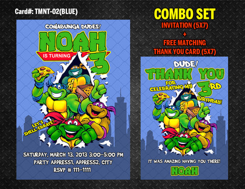 Ninja Turtles Invitation for TMNT Birthday - DIY Printable (Blue)