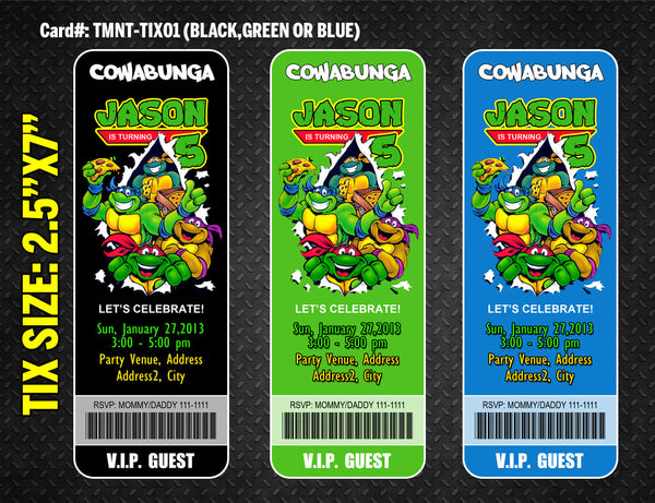 Ninja Turtles ticket invitation for TMNT birthday - DIGITAL