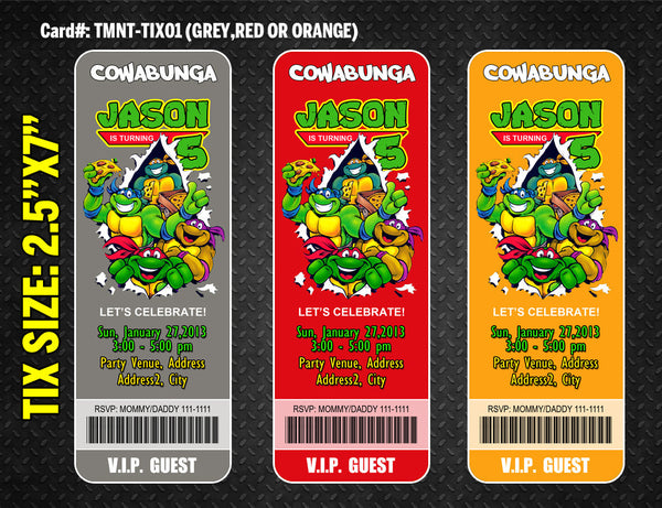 Ninja Turtles ticket invitation for TMNT birthday - DIY printable