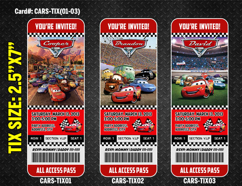 Cars Lightning McQueen ticket invitation - DIGITAL diy Printable