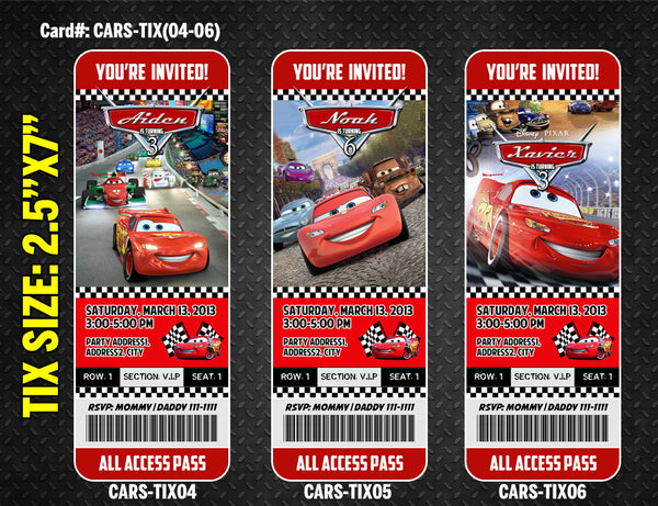 Cars Ticket Invitation for Lightning McQueen birthday - DIGITAL