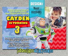 Buzz Invitations, buzz lightyear Birthday Party - chevron invite (6x4 or 7x5)
