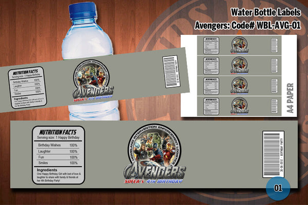 Personalized AVENGERS Printable Water bottle labels for Avenger Birthday Party #1