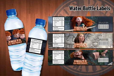 BRAVE Water bottle labels - Printable and Personalized for Brave birthday party (Set of 4)