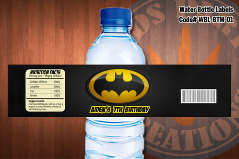 BATMAN Water Bottle Labels, Batman Logo, Batman Label - Printable for Batman Birthday Party D#1