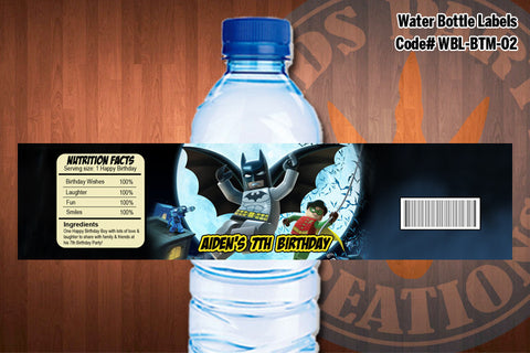 BATMAN Water Bottle Labels, Batman Logo, Batman Label - Printable for Batman Birthday Party D#2
