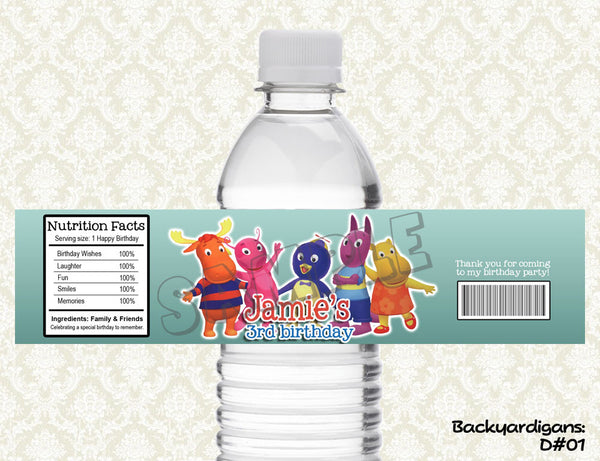 Backyardigans Water Bottle Label - Printable & Personalized for Backyardigans Birthday Party D#1