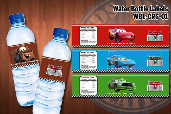 CARS Water bottle labels - Personalized and printable for Cars birthday party (SET of 4) D#1