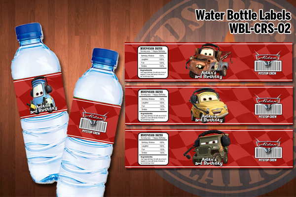 CARS Water bottle labels - Personalized and printable for Cars birthday party (SET of 4) D#2