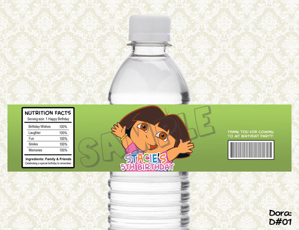 Dora Explorer Water Bottle Label - Printable & Personalized for Dora Birthday Party