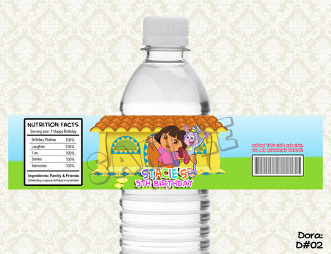 Dora Explorer Water Bottle Label - Printable & Personalized for Dora Birthday Party 2
