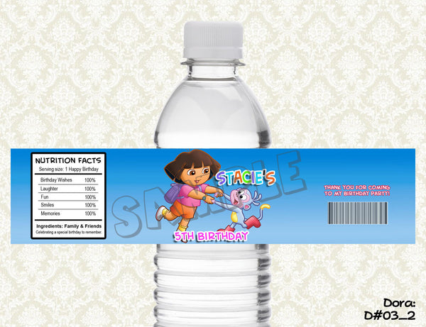 Dora the Explorer (SET of 2) Water Bottle Label -  Printable & Personalized for Dora's Enchanted Forest Birthday Party