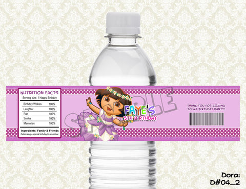 Dora the Explorer  (SET of 2) Water Bottle Label -  Printable & Personalized for Dora Birthday Party